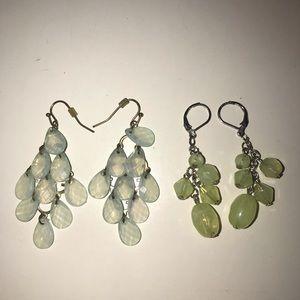 Sky Blue & Sea Salt Green Dangle Earrings